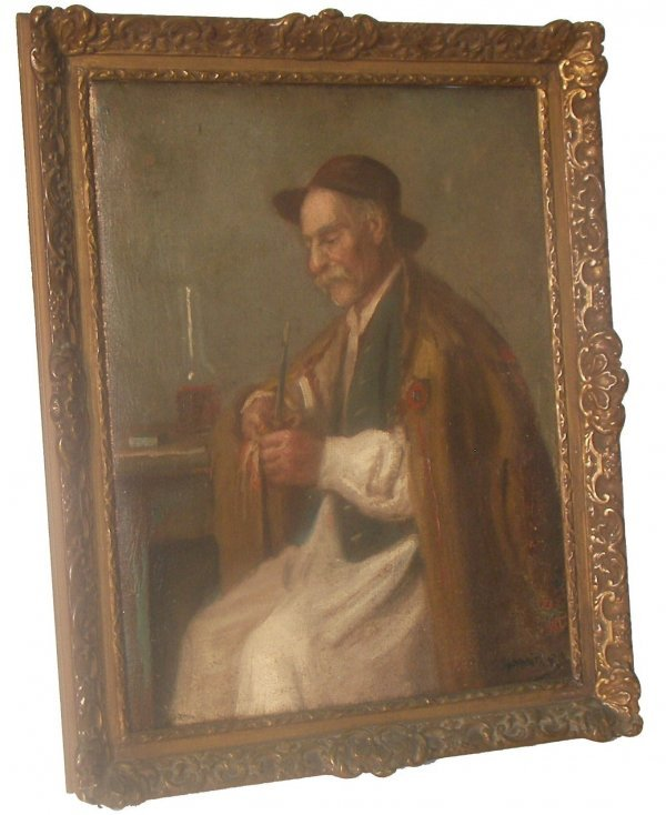 28: 19th C. framed o/c man with a pipe-artist signed
