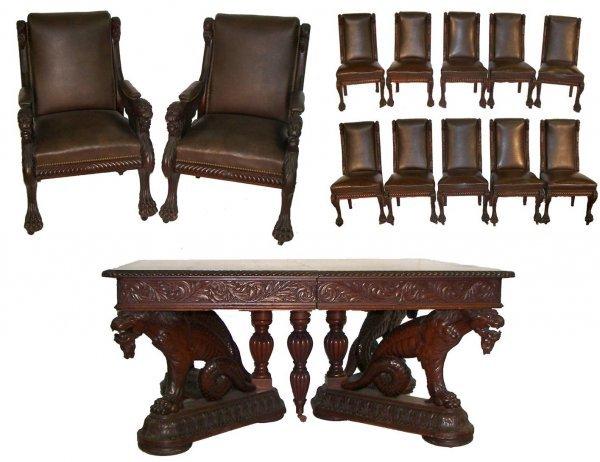 180: Herter design carved 13 pc. conference set