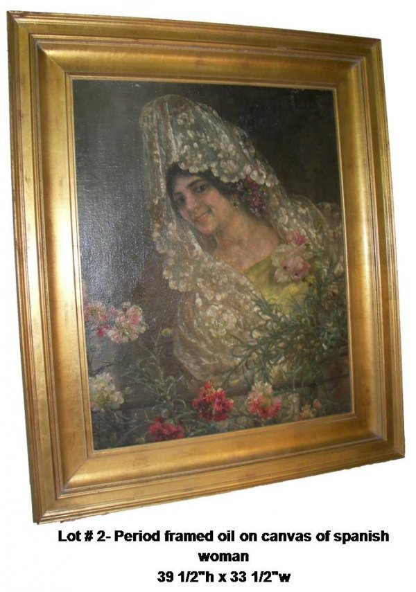 2: Period framed oil on canvas of spanish woman