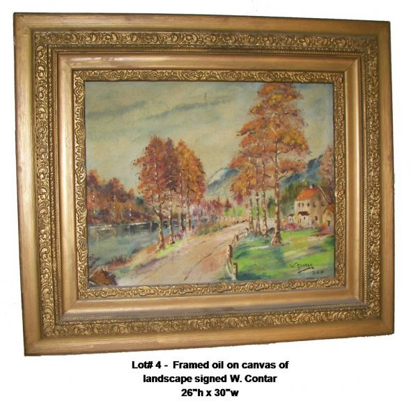 4: Framed oil on canvas of landscape signed