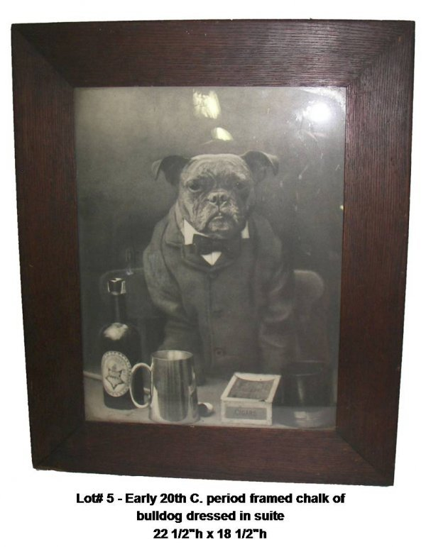 5: Early 20th C . chalk of bulldog dressed in suite