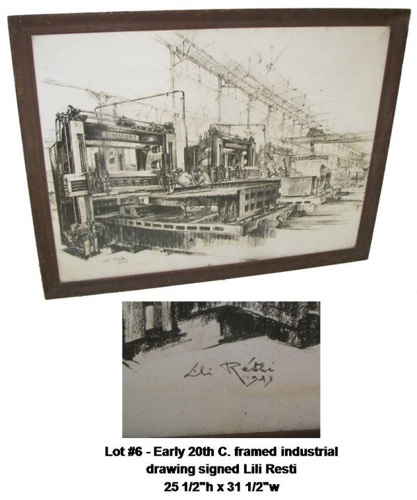 6: Early 20th C. framed industrial  drawing sgd.