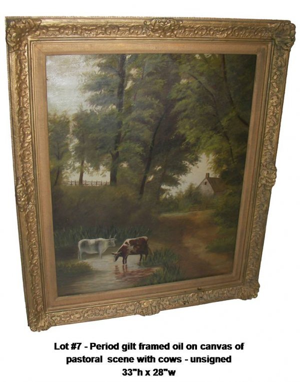 7: Period gilt framed o/c pastoral w/cows