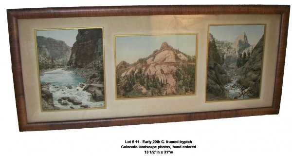 11: Early 20th C. framed tryptch Colorado landscapes