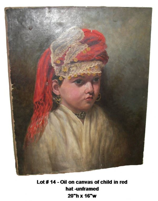 14: Oil on canvas of child in red hat  unframed