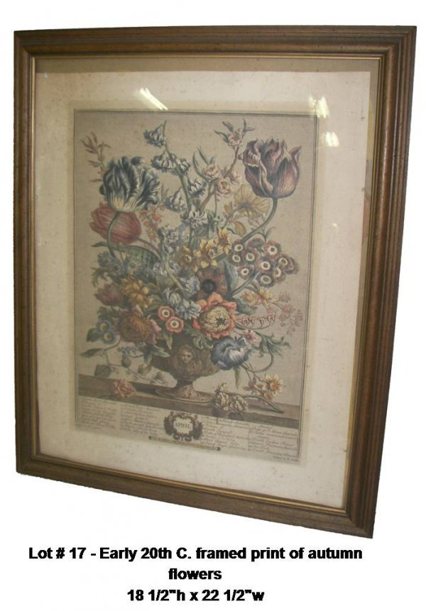 17: Early 20th C. frmaed print of autumn flowers