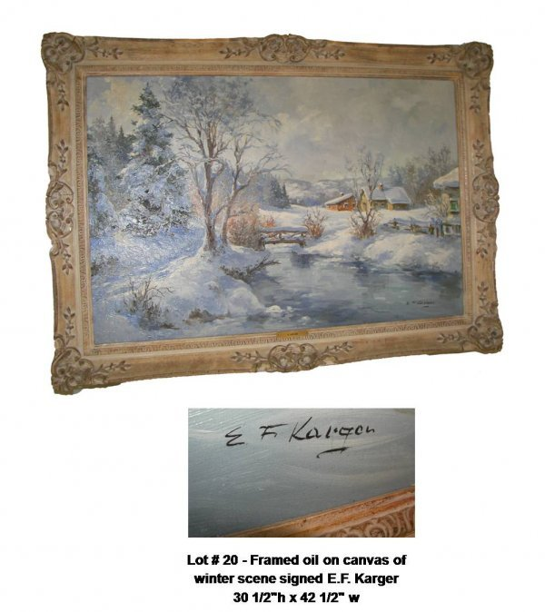 20: Framed o/c winter scene signed E.F. Karger
