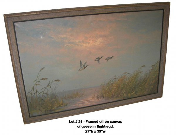 21: Framed oil on canvas of geese in flight sgd.