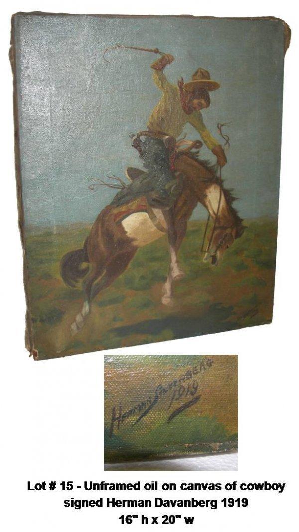 15: O/C cowboy sgd signed Herman Davanberg 1919