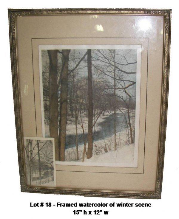 18: Framed watercolor of winter scene