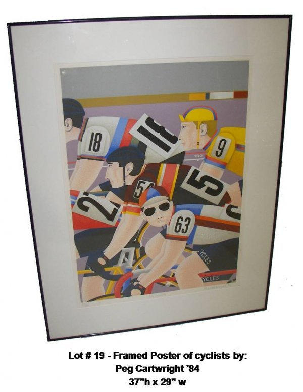 19: Framed Poster of cyclists by Peg Cartwright '84