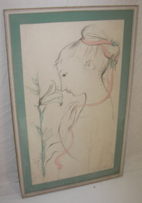23: Framed pastel of young girl signed Wimbald '57