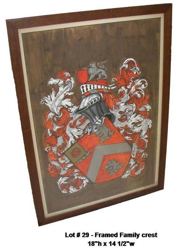 29: Framed Family crest