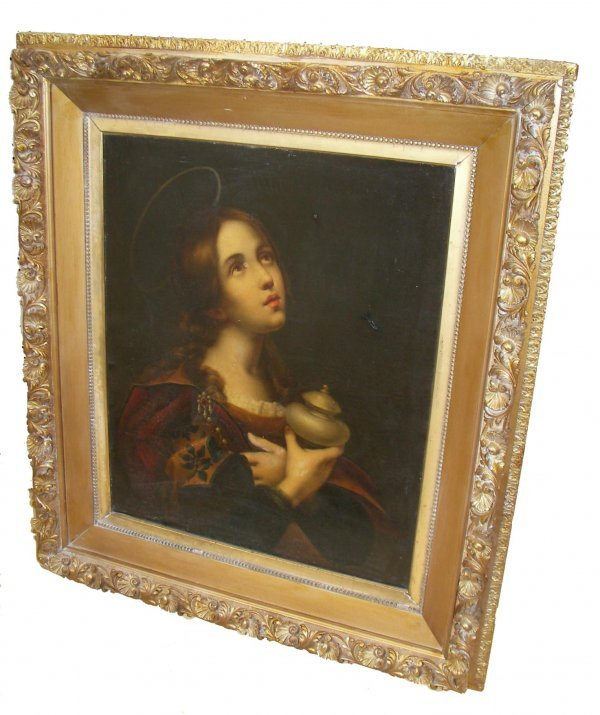 33: 19th C. oil on panel of Madonna holding urn