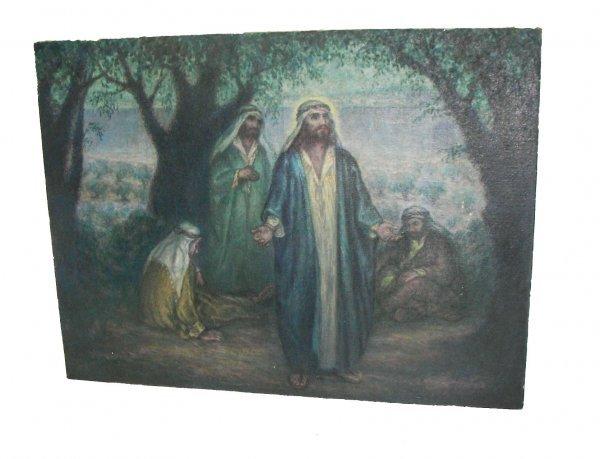 """35: 18th C. o/c """"Gethsemane"""" sgd. Frank M. Armington"""