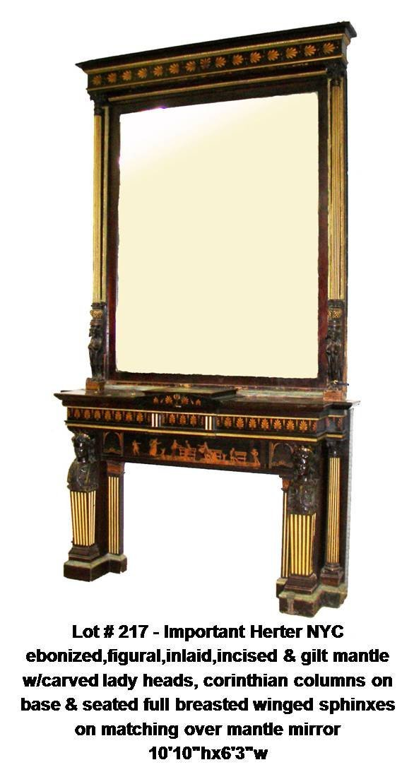 217: Herter figural mantle & over mantle mirror