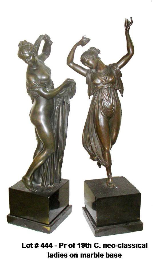 444: Pr of 19th C. neo-classical ladies on marble base