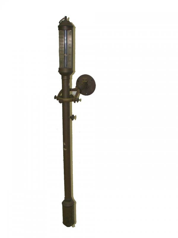 574: Early 19th C. bronze hanging ships barometer