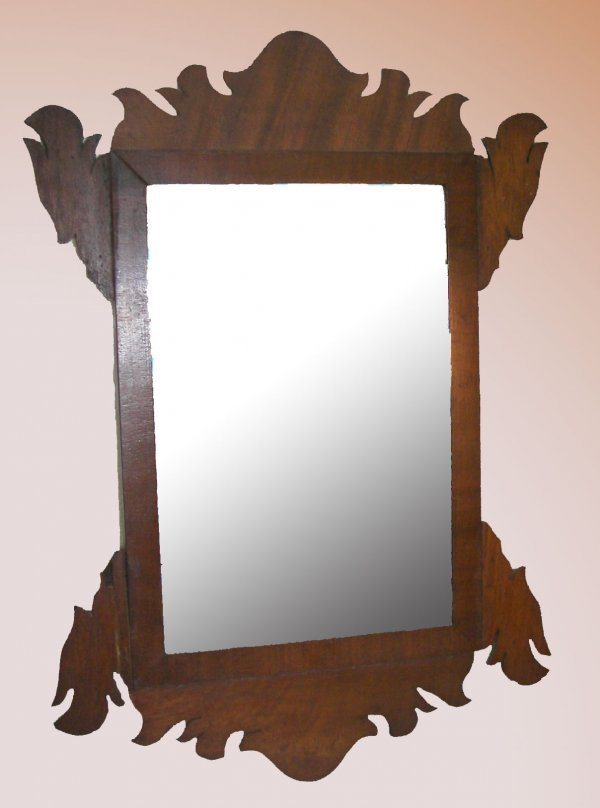 1: 18th C. Chippendale  mirror in pine frame