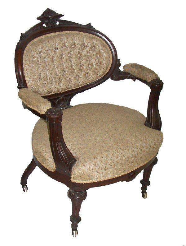 2: 19th C. Victorian walnut armchair