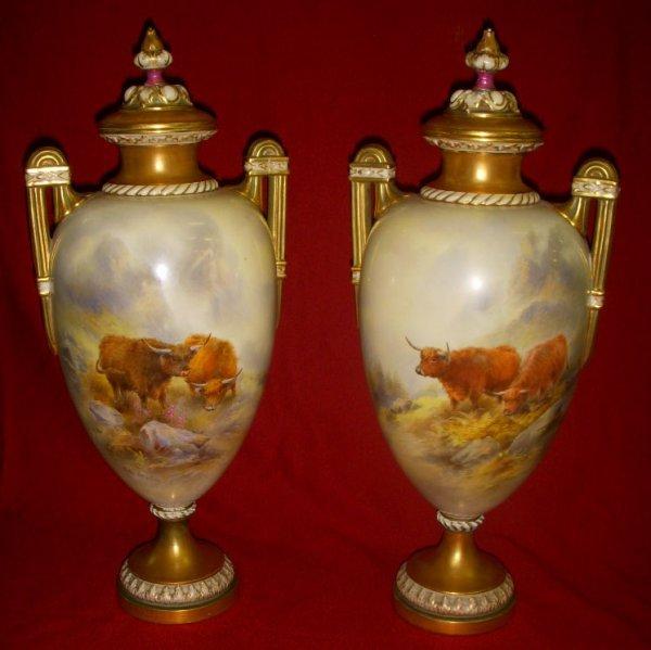3: Pr. Royal Worcester urns w/lids sgd. John Stinton
