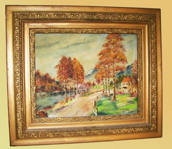4: Framed oil on canvas of landscape signed