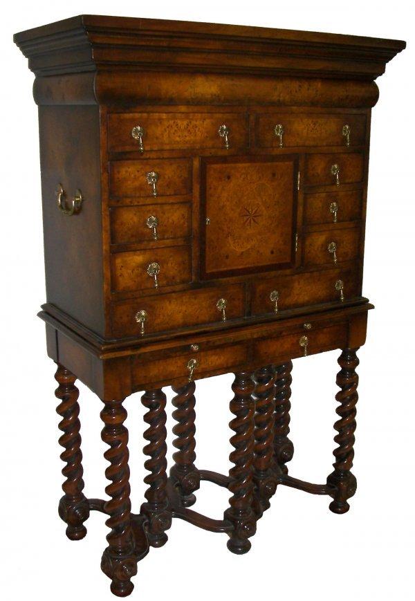 8: Maitland-smith burled walnut chest on frame