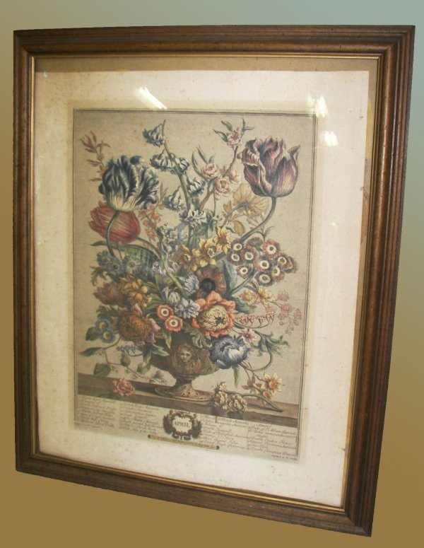 17: Early 20th C. framed print of autumn flowers