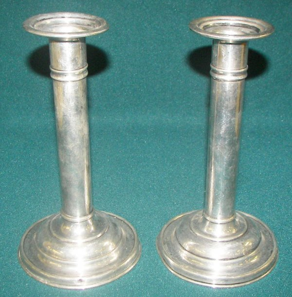 """20: Pair of sterling 7"""" candlesticks"""