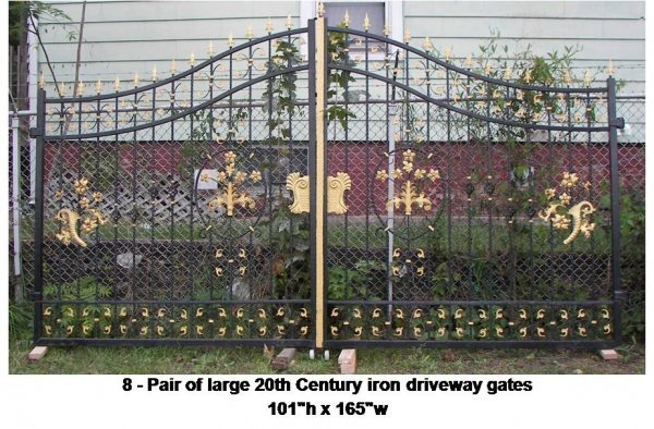 8: Pair of large 20th Century iron driveway gates