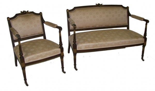 14: 19th C French 2 piece walnut parlor set