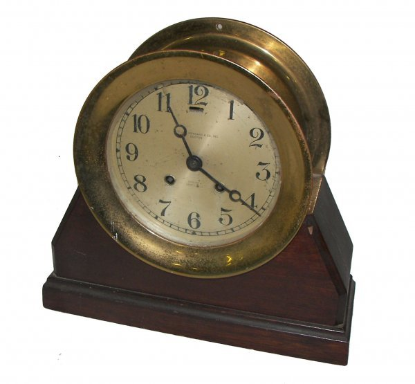 19: 19th C. mahogany cased Chelsea Ships bell clock