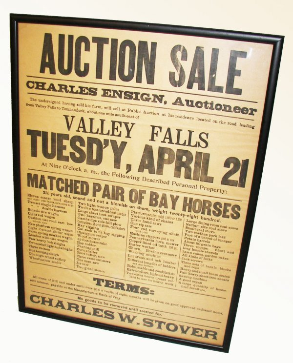 28: Original framed  auction poster