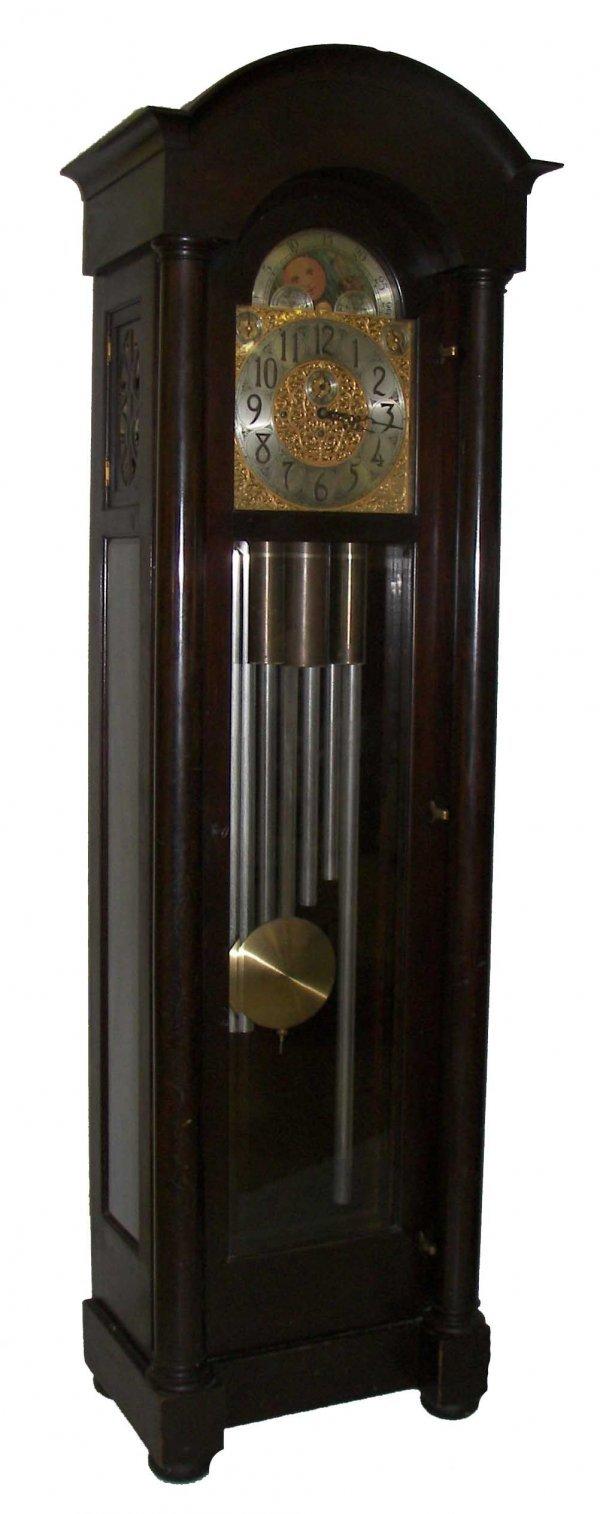 1: Early 20th C American Mahogany Grandfather Clock