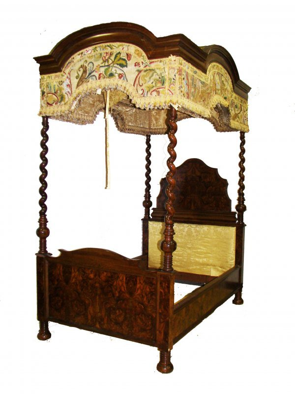 2: Ea. 19th C. Rosewood & Burled Gothic canopy bed