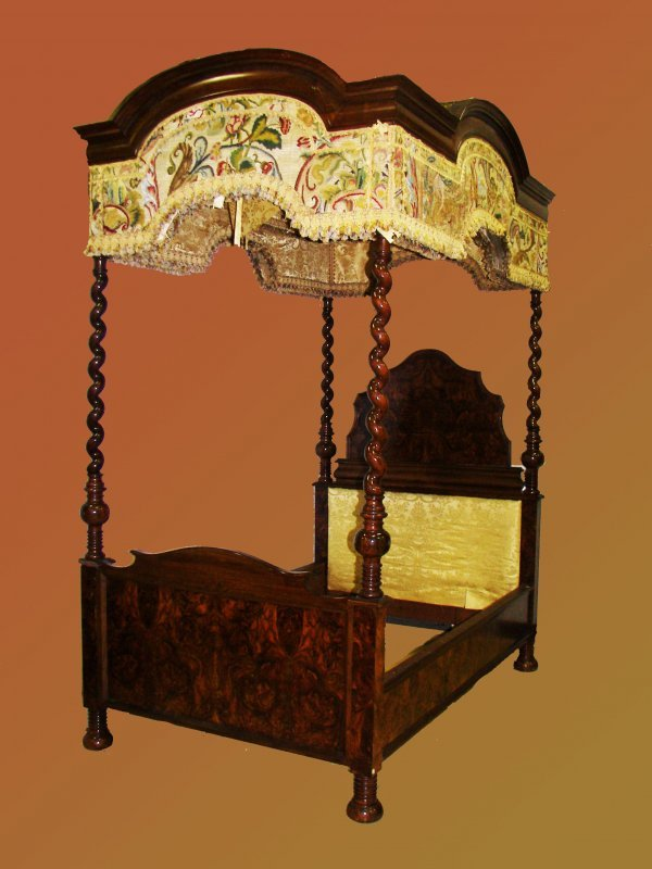 2: Ea. 19th C. Rosewood & Burled Gothic canopy bed - 5