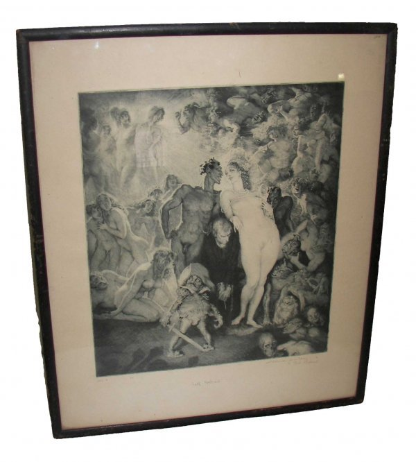 """4: Etching entitled """"Self-Portait"""" by Norman Lindsay"""