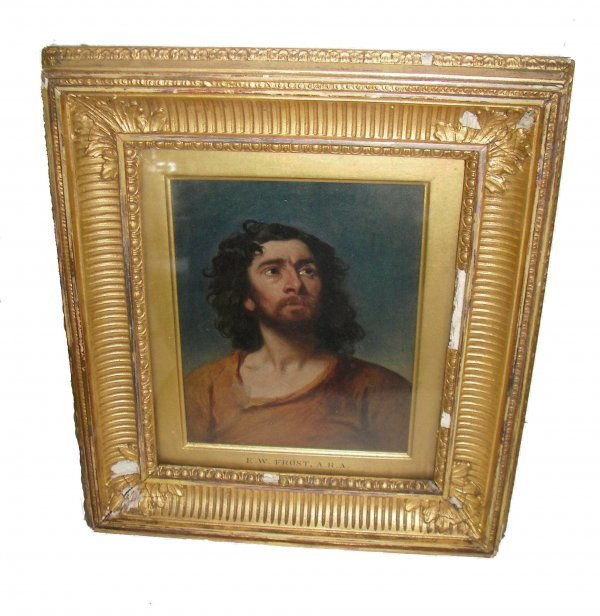 12: 19th C. Oil on canvas of Disciple signed Frost