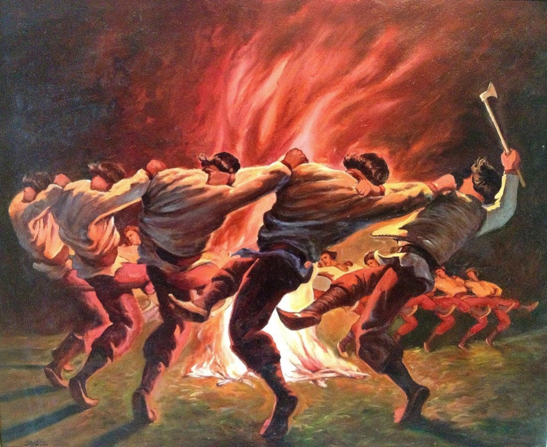 Tag Kim (Canadian) - Oil on Canvas - Ukrainian Dancers