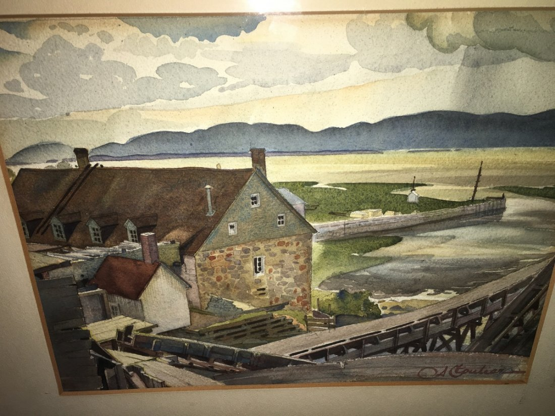 Albert Cloutier (Canadian) 1931 Watercolor KLINKOFF TAG