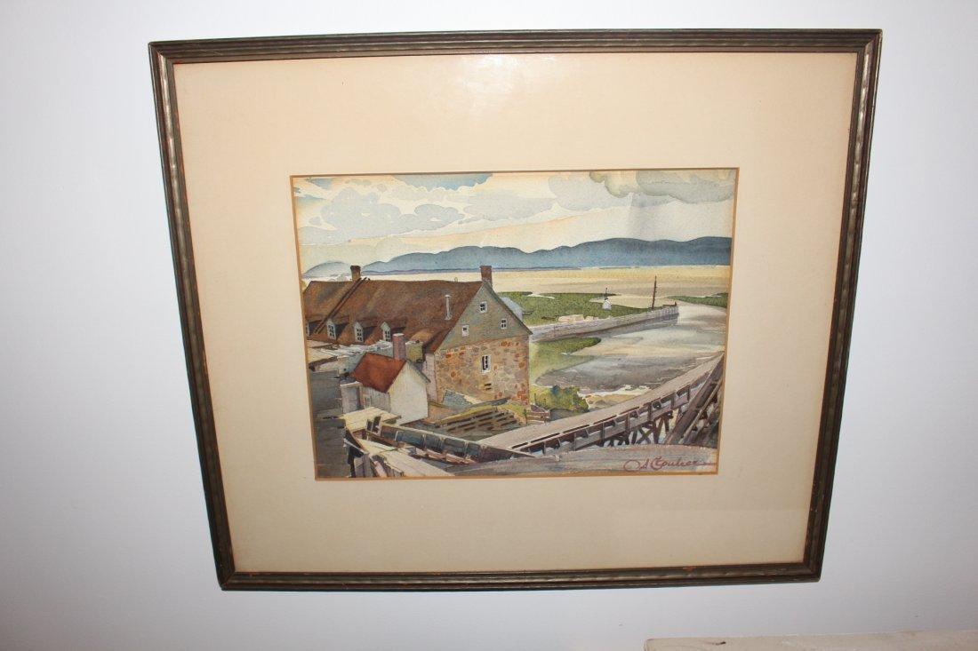 Albert Cloutier (Canadian) 1931 Watercolor KLINKOFF TAG - 2