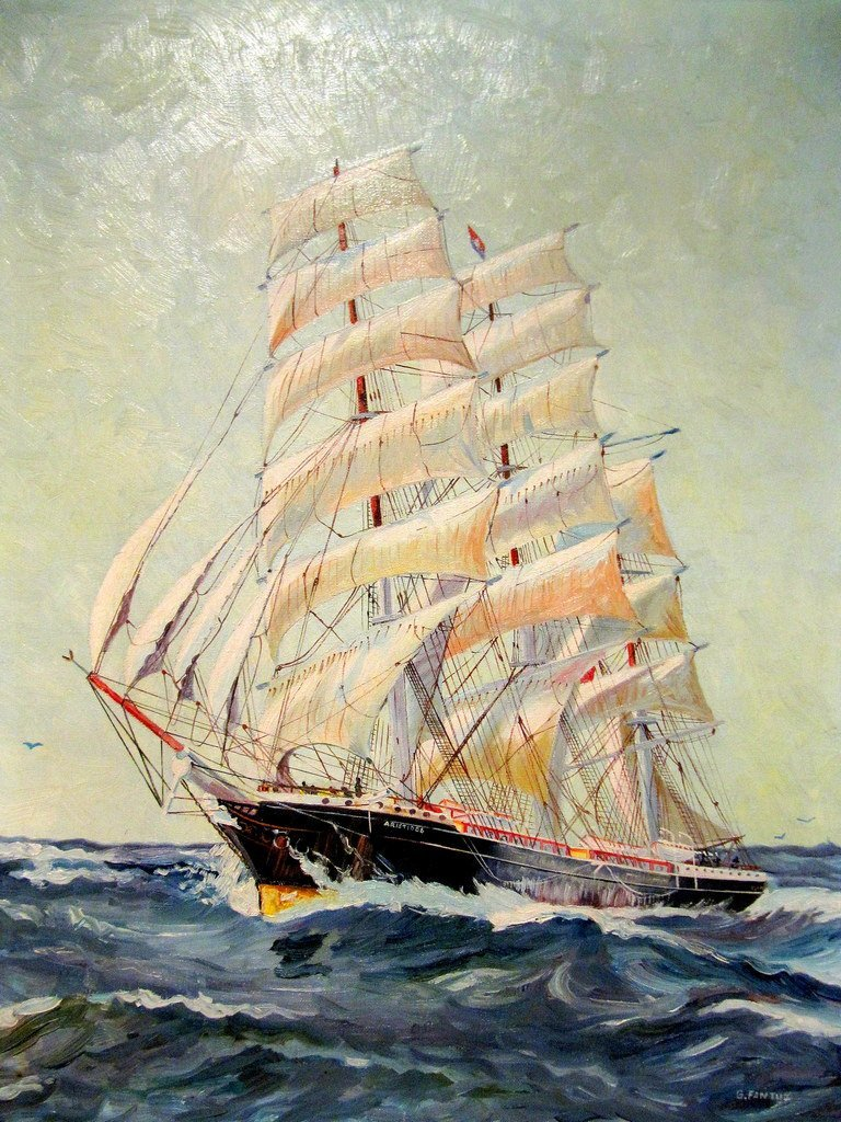 G. Fantuz Beautiful- Oil on Canvas (Impressionist) Ship