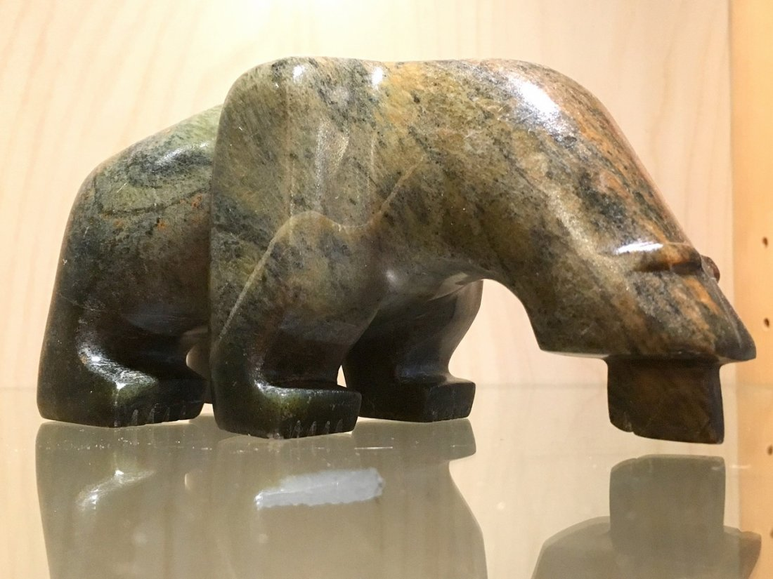 Chris Mederios (Cheif Carver) Soapstone Fishing Bear