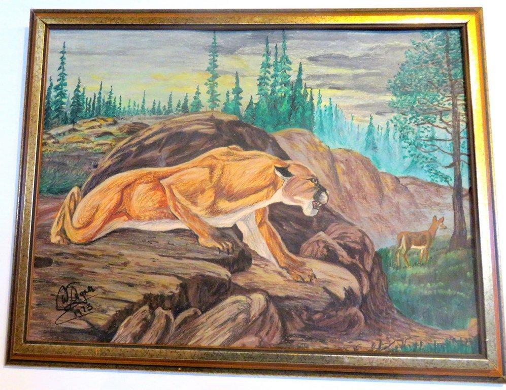 Cougar Hunting Deer - Original Pastel -Illegible Artist