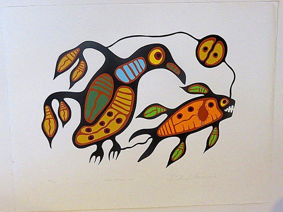 Richard Bedwash (1936-2007 Canadian) Loon Catching Fish