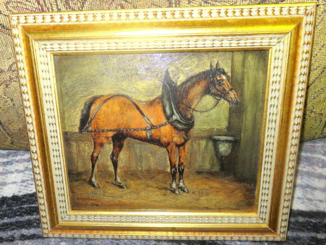 J. Campbell 1878 - Horse in Stable Oil on Board England