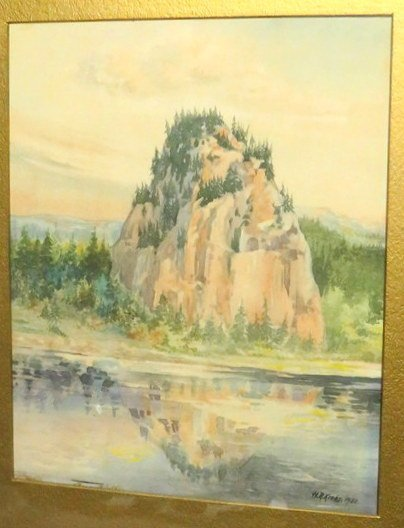 H.R. Krebs - 1922 Watercolor Castle Rock Columbia River