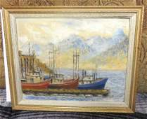 W. Coventry - Horseshoe Bay, B.C. Docked Boats Painting