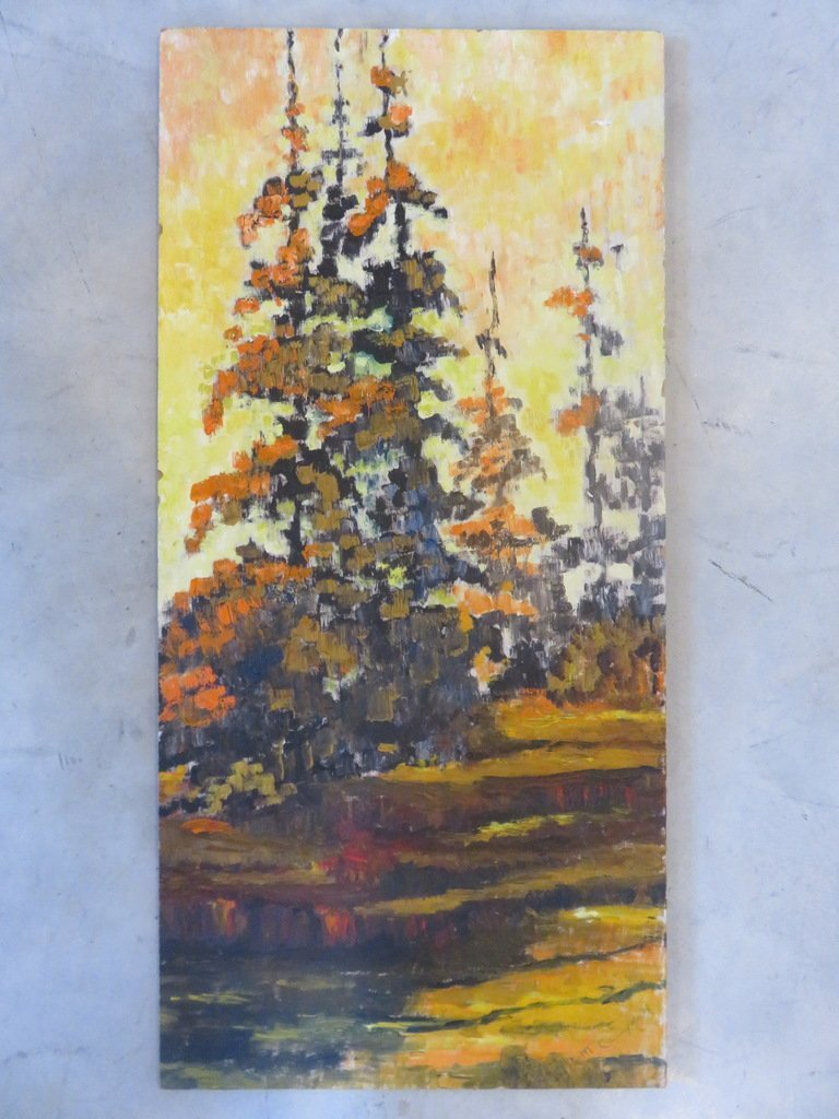 Oil Unframed Painting signed M. Campbell