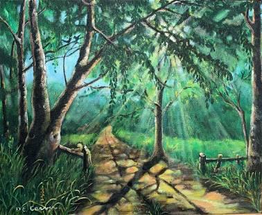Dorothy Carver - Sundrenched Road (5 Hidden Animals)